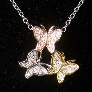 14kt Gold Dipped 3 Dancing Butterfly Necklace